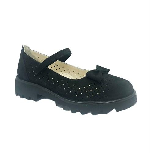 Туфли школьные для девочки, цвет черный, ремешок на липучке, перфорация - фото 10875