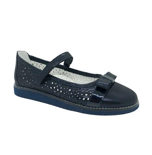 Туфли школьные для девочки, цвет темно-синий, ремешок на липучке, перфорация - фото 10880