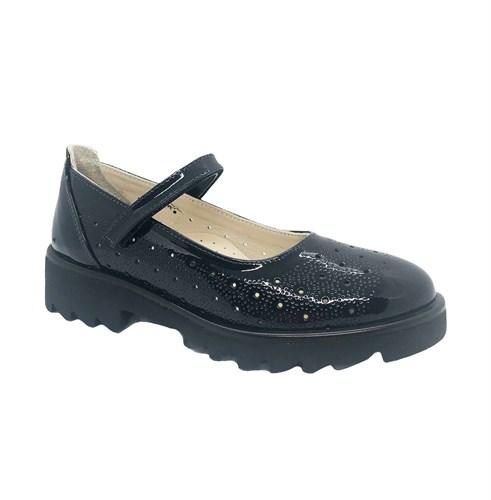 Туфли школьные для девочки, цвет темно-синий, ремешок на липучке - фото 10892