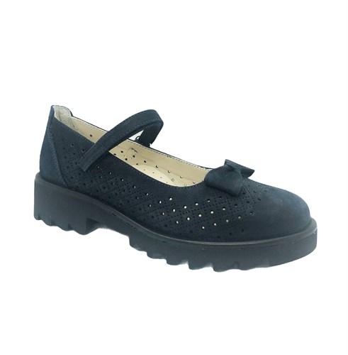 Туфли школьные для девочки, цвет темно-синий, ремешок на липучке, бантик - фото 10897