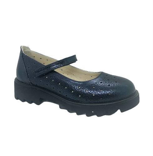 Туфли школьные для девочки, цвет синий, ремешок на липучке, перфорация - фото 10907