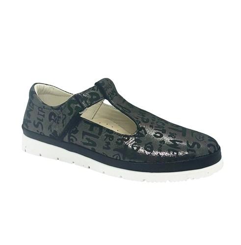 Туфли для девочки, цвет темно-серый (принт с буквами), ремешок на липучке - фото 10912
