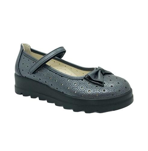 Туфли школьные для девочки, цвет серый, ремешок на липучке, перфорация - фото 10956