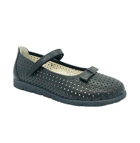 Туфли школьные для девочки, цвет черный, ремешок на липучке, перфорация - фото 10970