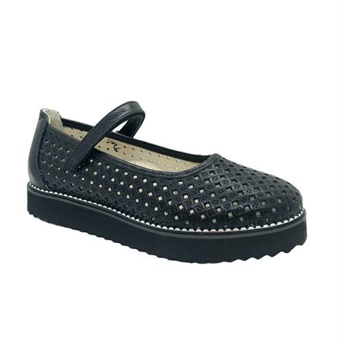 Туфли для девочки, цвет черный, ремешок на липучке, перфорация, подошва ТЭП - фото 10980
