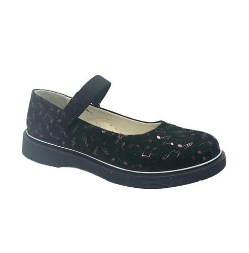 Туфли школьные для девочки, цвет черный (узор), ремешок на липучке - фото 10990