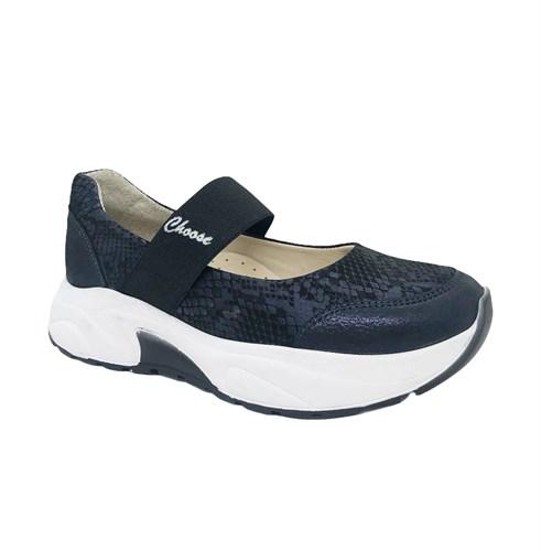 Туфли для девочки, цвет синий (узор), на резинке - фото 11244