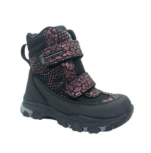 Ботинки для девочки, цвет серый/бордовый (узор), на липучках, мембрана - фото 11626