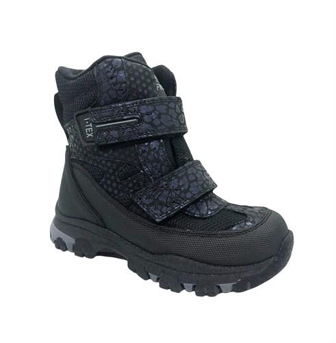 Ботинки для девочки, цвет серый/темно-синий (узор), на липучках, мембрана - фото 11636