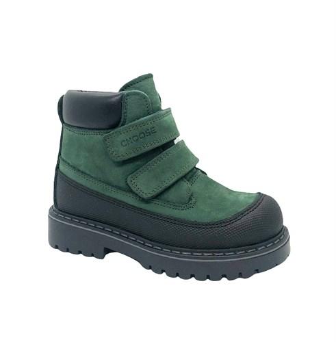 Ботинки для мальчика, цвет темно-зеленый, на липучках - фото 11748