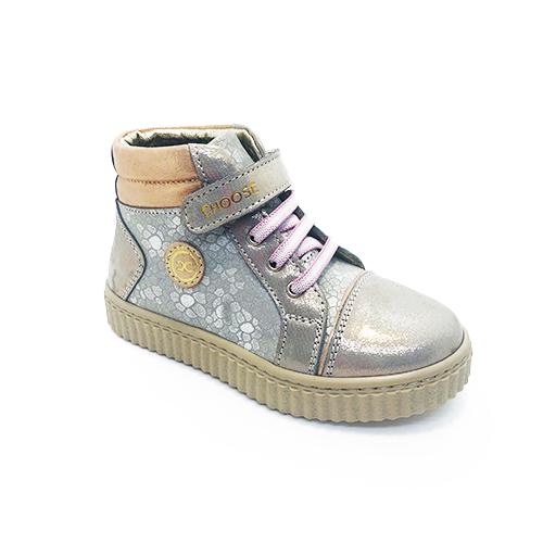Ботинки для девочек, цвет: платина, шнурки/липучка - фото 4689