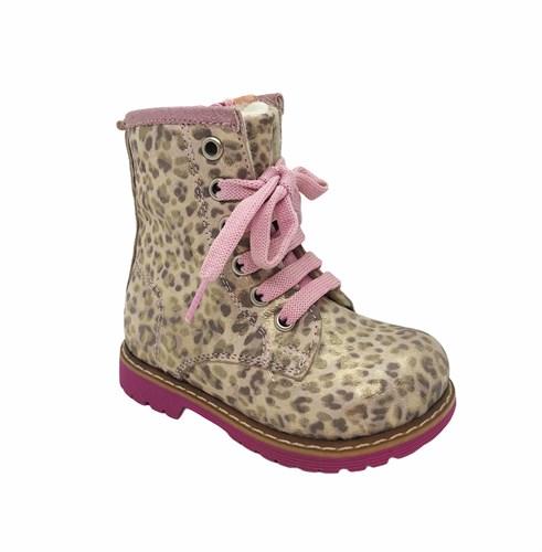 Ботинки для девочки, цвет бежевый (леопард), на молнии/шнурки - фото 5747