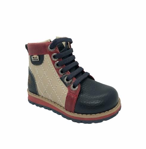 Ботинки для мальчика, цвет  бежевый/синий, молния/шнурки - фото 5788