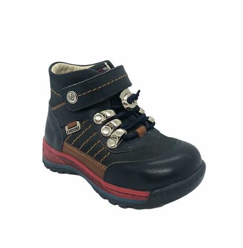 Ботинки для мальчика, цвет  синий/коричневый, шнурки-резинка/липучка - фото 5802