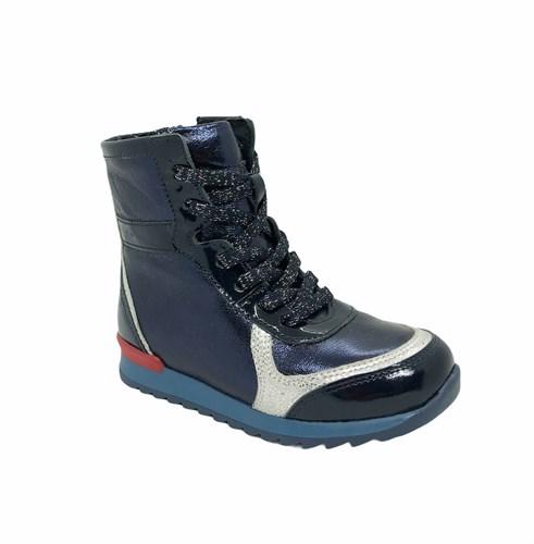 Ботинки для девочки, цвет синий, шнурки/молния - фото 6684