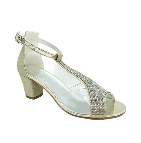 Туфли для девочки, цвет золотистый, с перемычкой украшенной стразами - фото 9897
