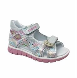 Сандалии для девочки, цвет серебристый/розовый, на липучках