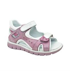 Сандалии для девочки, цвет розовый/белый, на липучках