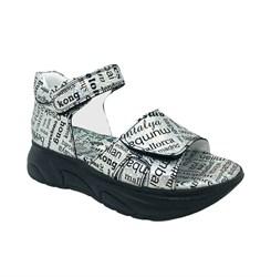 Сандалии для девочки, серебристый/серый (принт в виде букв), в стиле sport, на липучках