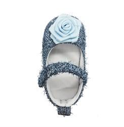 Пинетки-туфельки для девочки, голубые с украшением в виде цветка