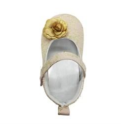 Пинетки-туфельки для девочки, золотистого цвета с украшением в виде цветка