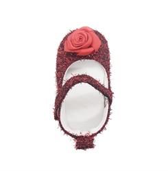 Пинетки-туфельки для девочки,красные с украшением в виде цветка