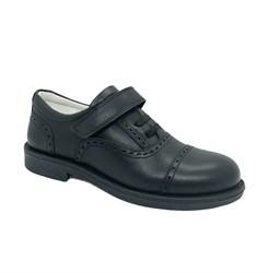 Школьные туфли для мальчика, цвет черный, липучка/шнурки