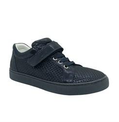 Полуботинки для девочки, цвет темно-синий, липучка/шнурки, перфорация