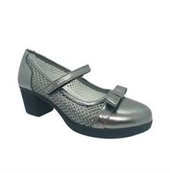 Туфли для девочки, цвет серебристый, на каблуке