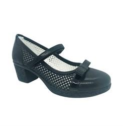 Туфли для девочки, цвет синий, на каблуке