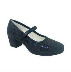 Туфли для девочки, цвет темно-синий, на каблуке, перфорция