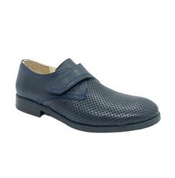 Школьные туфли для мальчика, цвет синий, на липучке, перфорация