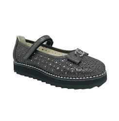 Туфли для девочки, цвет темно-серый, ремешок на липучке, перфорация