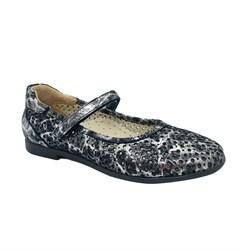 Туфли для девочки, цвет серый (узор), ремешок на липучке, перфорация