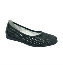 Туфли для девочки, цвет черный, перфорация