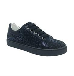 Полуботинки для девочки, цвет темно-синий (узор), шнурки/замок