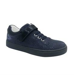 Полуботинки для девочки, цвет синий (узор), шнурки/липучка