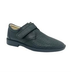 Туфли для мальчика, цвет синий, на липучке, перфорация