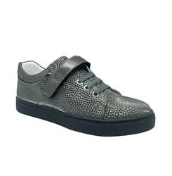 Полуботинки для девочки, цвет серый (узор), шнурки/липучка