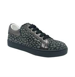 Полуботинки для девочки, цвет темно-серый (узор), шнурки/молния