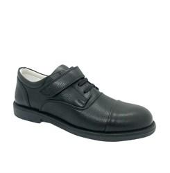 Полуботинки для мальчика, цвет черный, шнурки/липучка