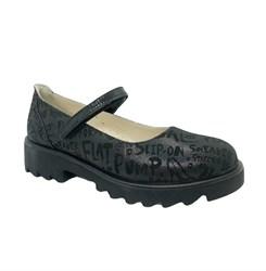 Туфли школьные для девочки, цвет черный (принт с буквами), ремешок на липучке