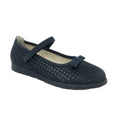 Туфли для девочки, цвет темно-синий, ремешок на липучке, бантик
