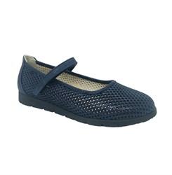 Туфли для девочки, цвет синий, ремешок на липучке, перфорация