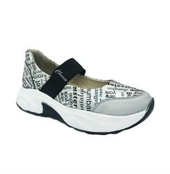 Туфли для девочки, цвет белый (принт в виде букв), регулирующая резинка