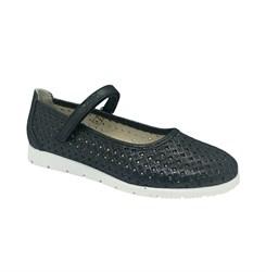 Туфли для девочки, цвет темно-синий, ремешок на липучке, перфорация