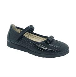 Туфли для девочки, цвет темно-синий, ремешок на липучке, перфорация, бантик