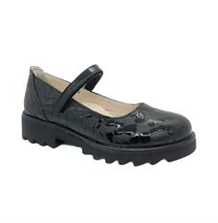 Туфли школьные для девочки, цвет бордовый, ремешок на липучке