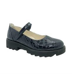 Туфли для девочки, цвет темно-синий (узор), ремешок на липучке