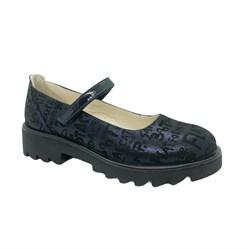 Туфли для девочки, цвет темно-синий (принт с буквами),ремешок на липучке